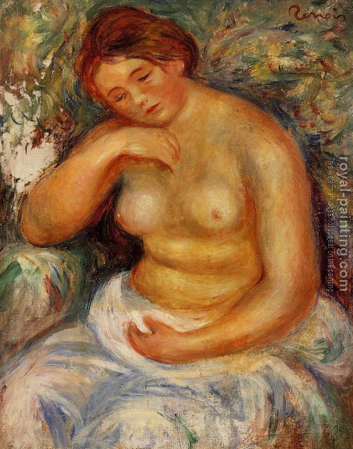 Pierre Auguste Renoir : Seated Nude with a Bouquet
